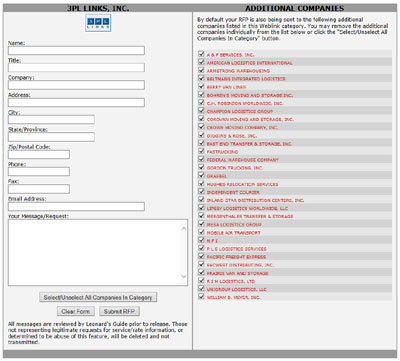 RFP System Screen Shot
